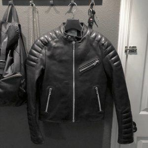Nyden Cropped Quilted Moto Leather Jacket